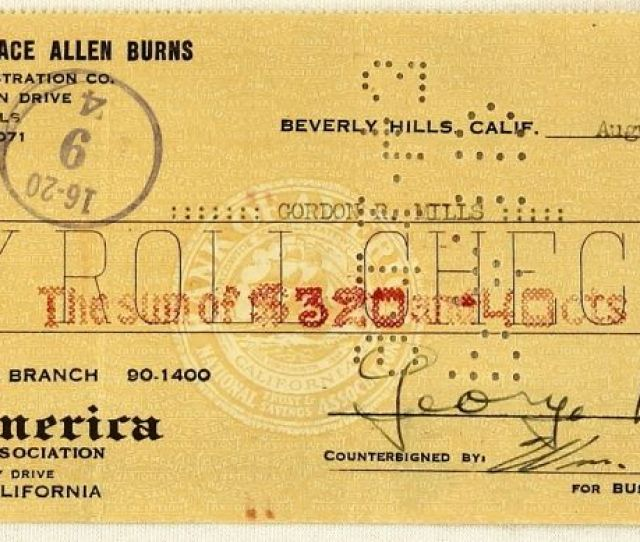 Image 1 George Burns Signed Bank Of America Check Dated August 31