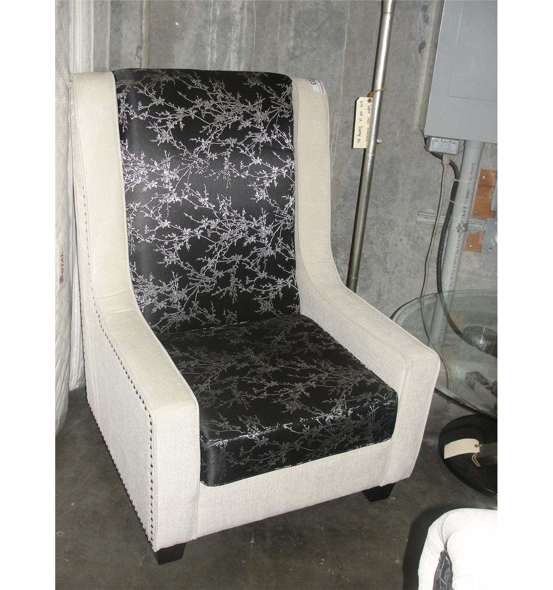 Off White Accent Chair Living Room High Back Accent Chair Off White With Black
