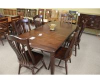 7 PC DARK WOOD DINING TABLE SET