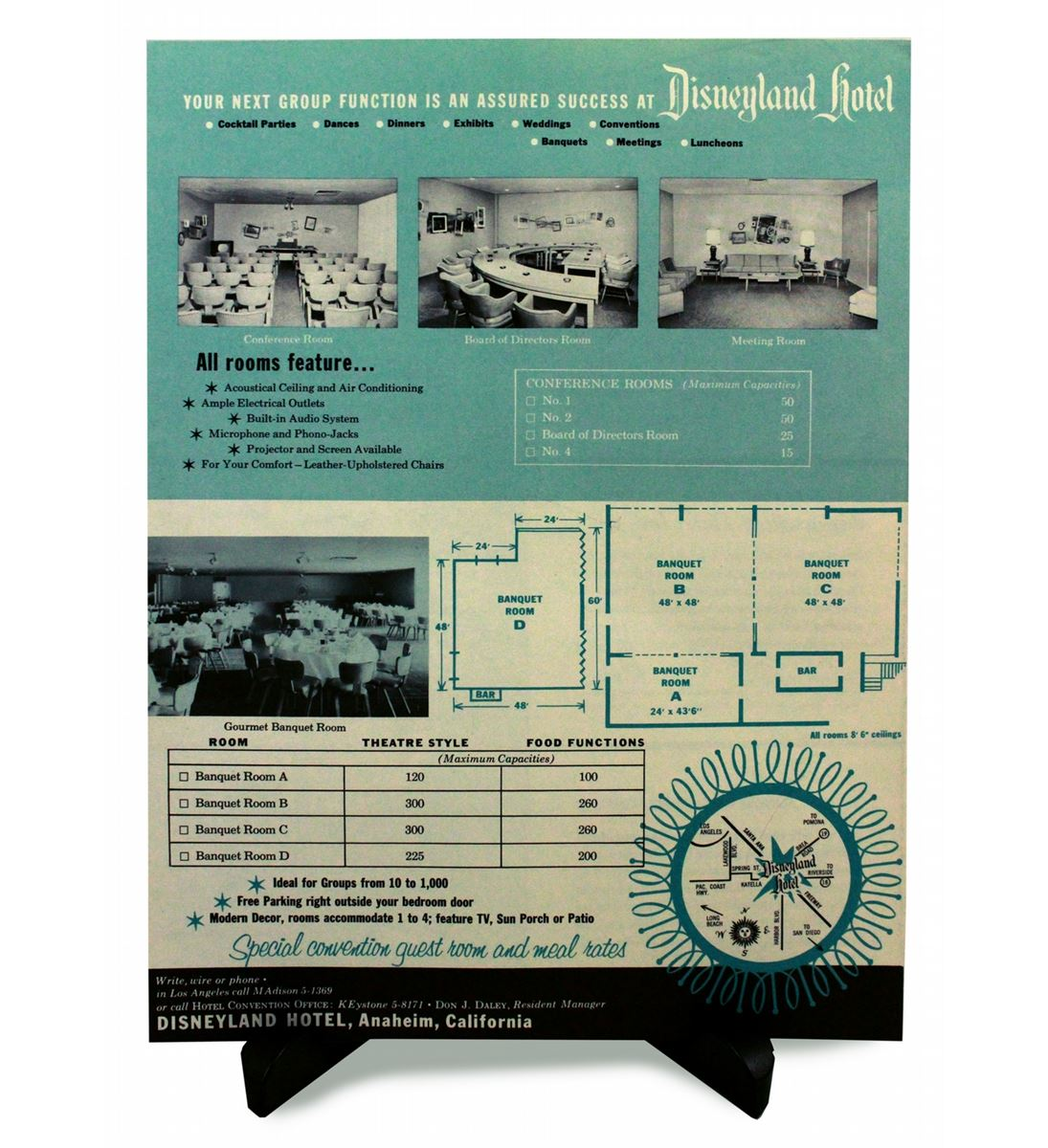 Rare 1956 Disneyland Hotel Facilities Brochure