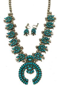 Zuni Squash Blossom Necklace & Earrings