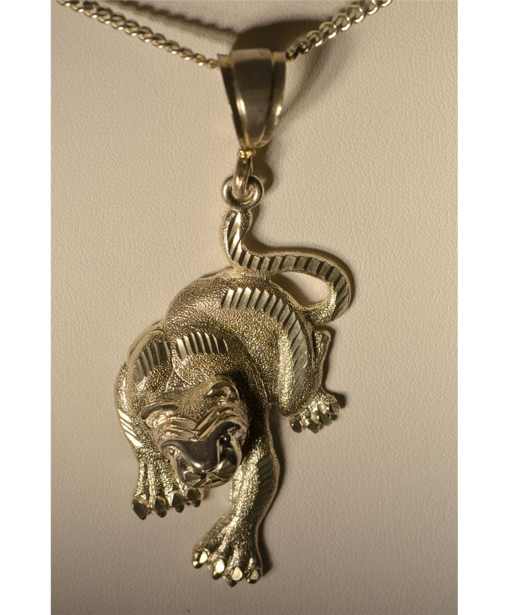 Sterling Silver Cougar Pendant Necklace
