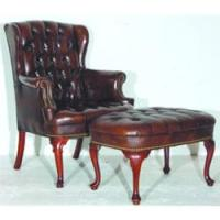 QUEEN ANNE STYLE CHAIR & OTTOMAN - Leather, some arm ...