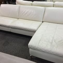 Cream Full Leather Chaise Sectional Sofa Love Seat Bed With