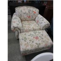 Overstuffed arm chair with ottoman - used