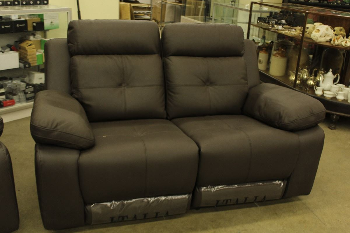 electric sofa set modern sleeper leather brown italia 3 piece loveseat chair with image 1