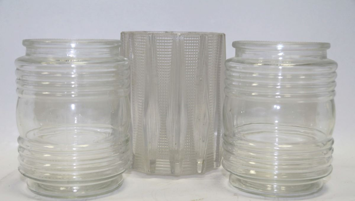 LOT OF 3 VINTAGE GLASS PORCH LIGHT COVERS