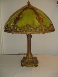 Early Victorian Slag Glass Electric Lamp