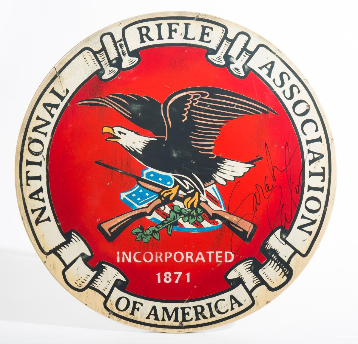 Sarah Palin Autographed Nra Seal Artwork By Steven Neill