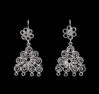 14KT White Gold Dangle Earrings