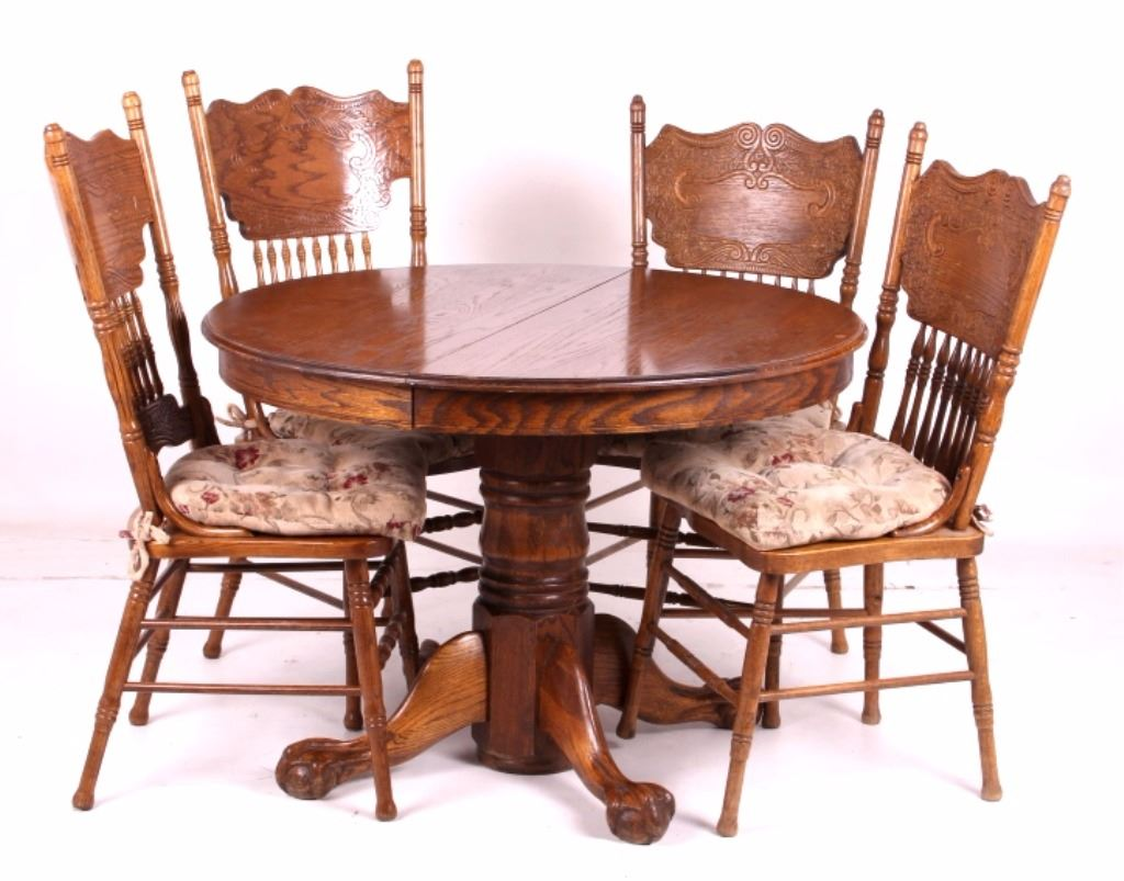 round oak table and 6 chairs key west hammock claw foot w pressed back
