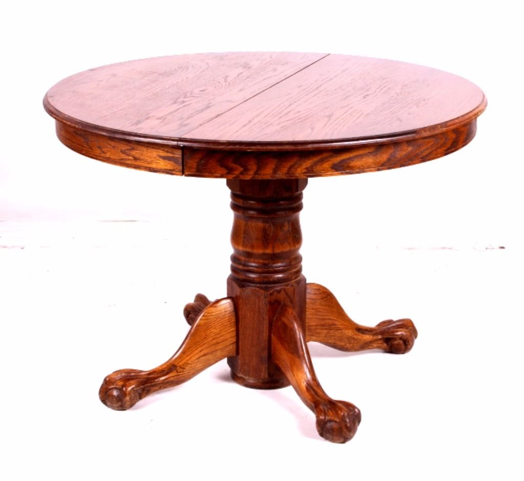 round oak table and 6 chairs dining room chair cushion covers claw foot w pressed back