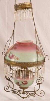Antique Painted Rose Shade Hanging Lamp