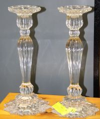 "PAIR OF MIKASA LEAD CRYSTAL CANDLE HOLDERS 12""HIGH"