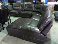 BROWN LEATHER 6 PIECE RECLINING SECTIONAL SOFA SET - Able ...