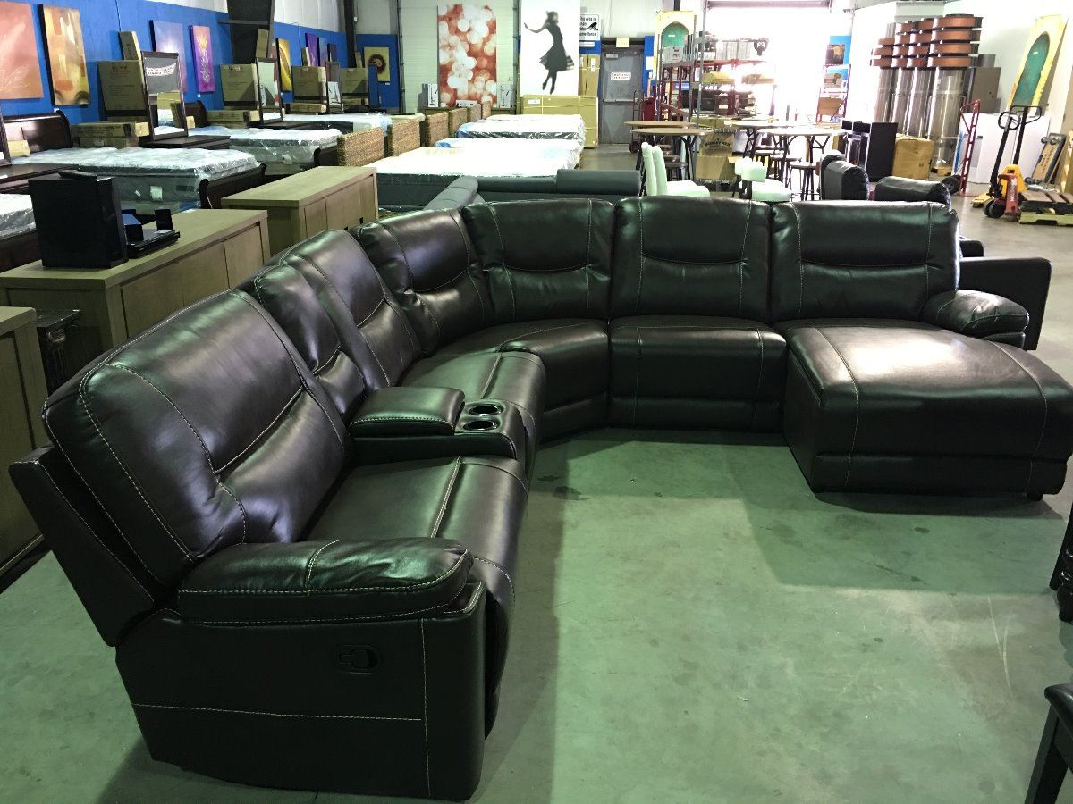 8 piece leather sectional sofa queen sleeper brown 6 reclining set