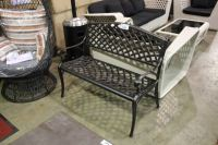 BLACK CAST ALUMINUM OUTDOOR PATIO BENCH