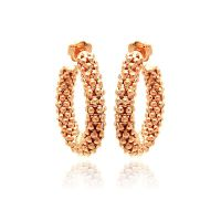 Sterling Silver Rose Gold Plated Italian Hoop Earring ...