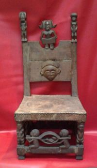 "African Chokwe Tribe Queen Throne Chair 33x16x14"", 14"