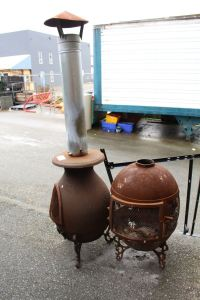 2 VINTAGE OUTDOOR FIREPLACES
