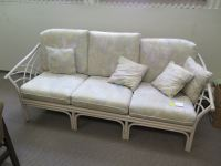 "White Wicker Sofa w/Cushions - Approx. 78"" long"