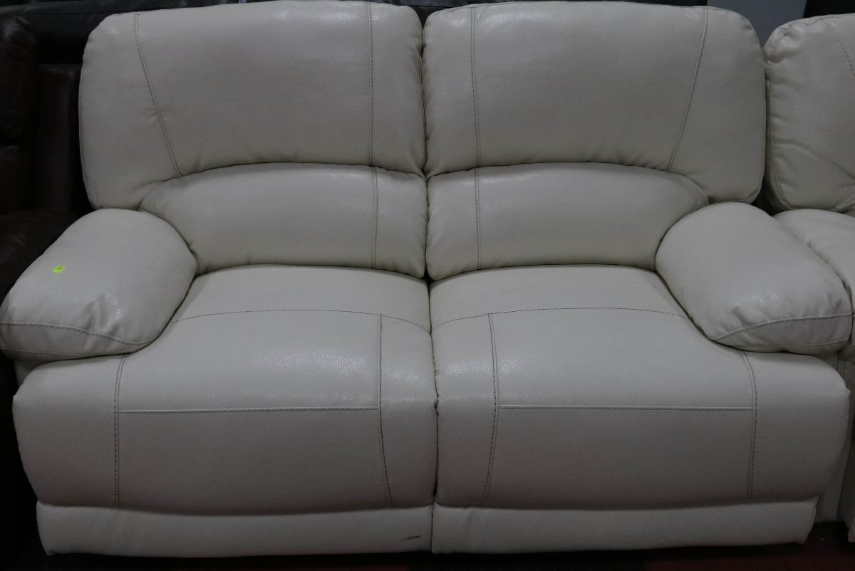 white reclining sofa and loveseat how to determine much fabric you need reupholster a new bonded leather