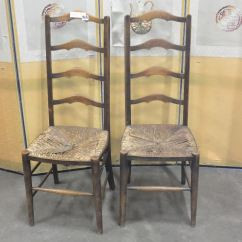 Antique Ladder Back Chairs With Rush Seats Rolling Two