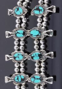 Turquoise Squash Blossom Bracelet & Earrings