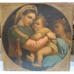 Madonna Of The Chair Wheelchair Headrest D Apres Raphael After With Huile Sur Toile