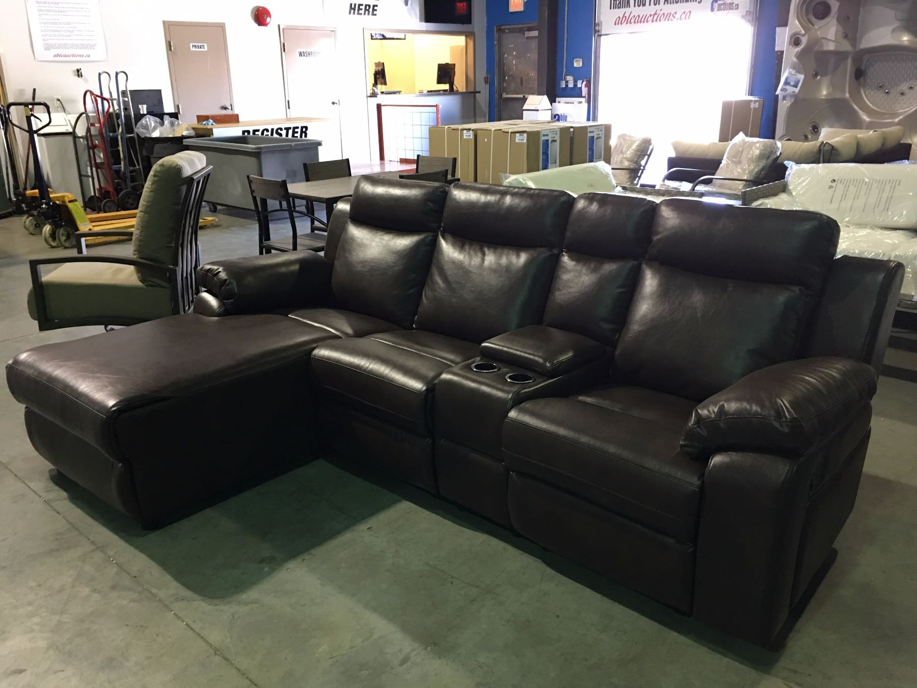 2 piece brown leather sofa kennedy mitchell gold reclining sectional able auctions