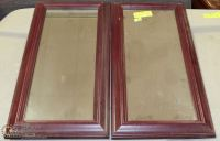 PAIR OF CHERRY WOOD FRAMED MIRRORS