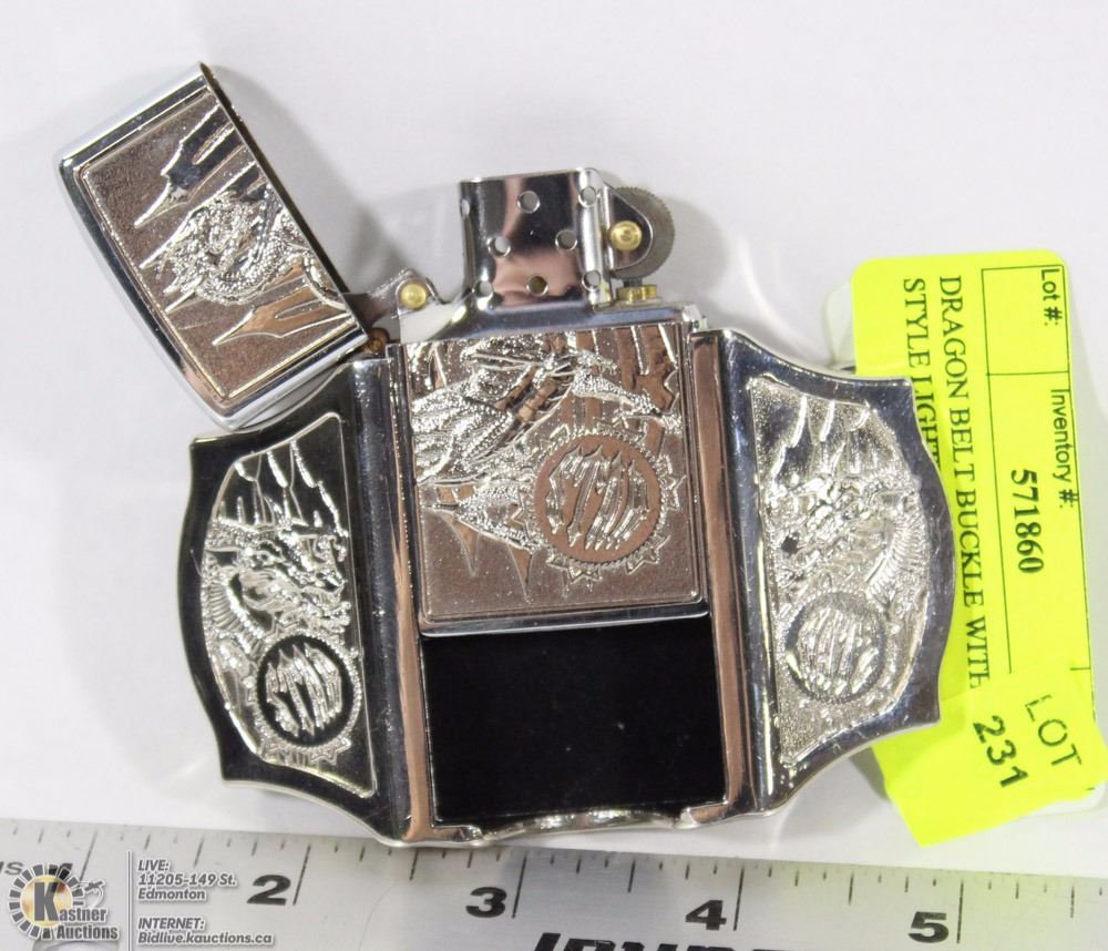 Dragon Belt Buckle With Zippo Style Lighter - Kastner Auctions
