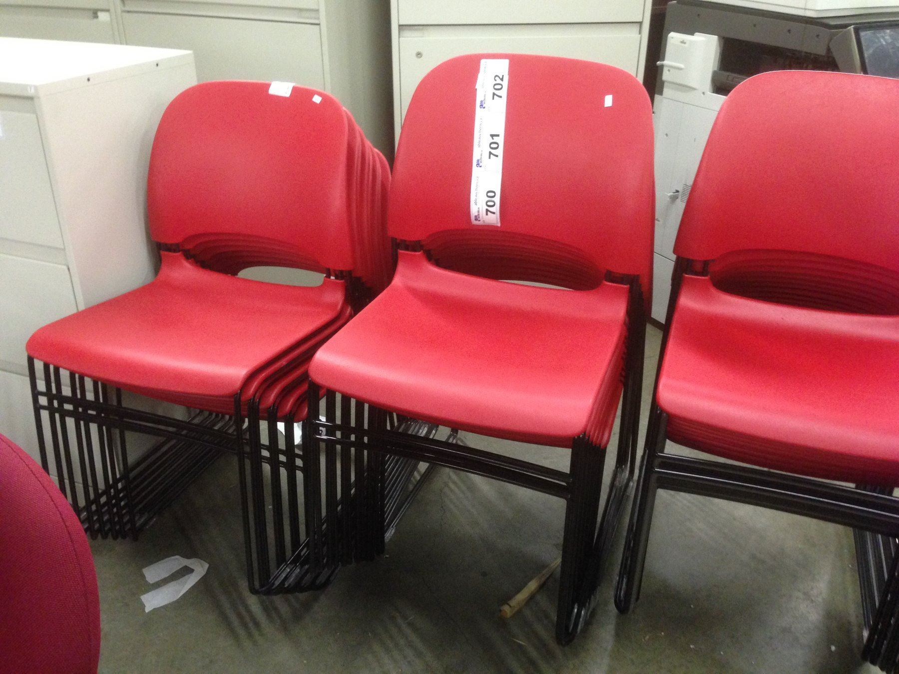 HERMAN MILLER RED SLIMLINE STACKING CHAIR - Able Auctions
