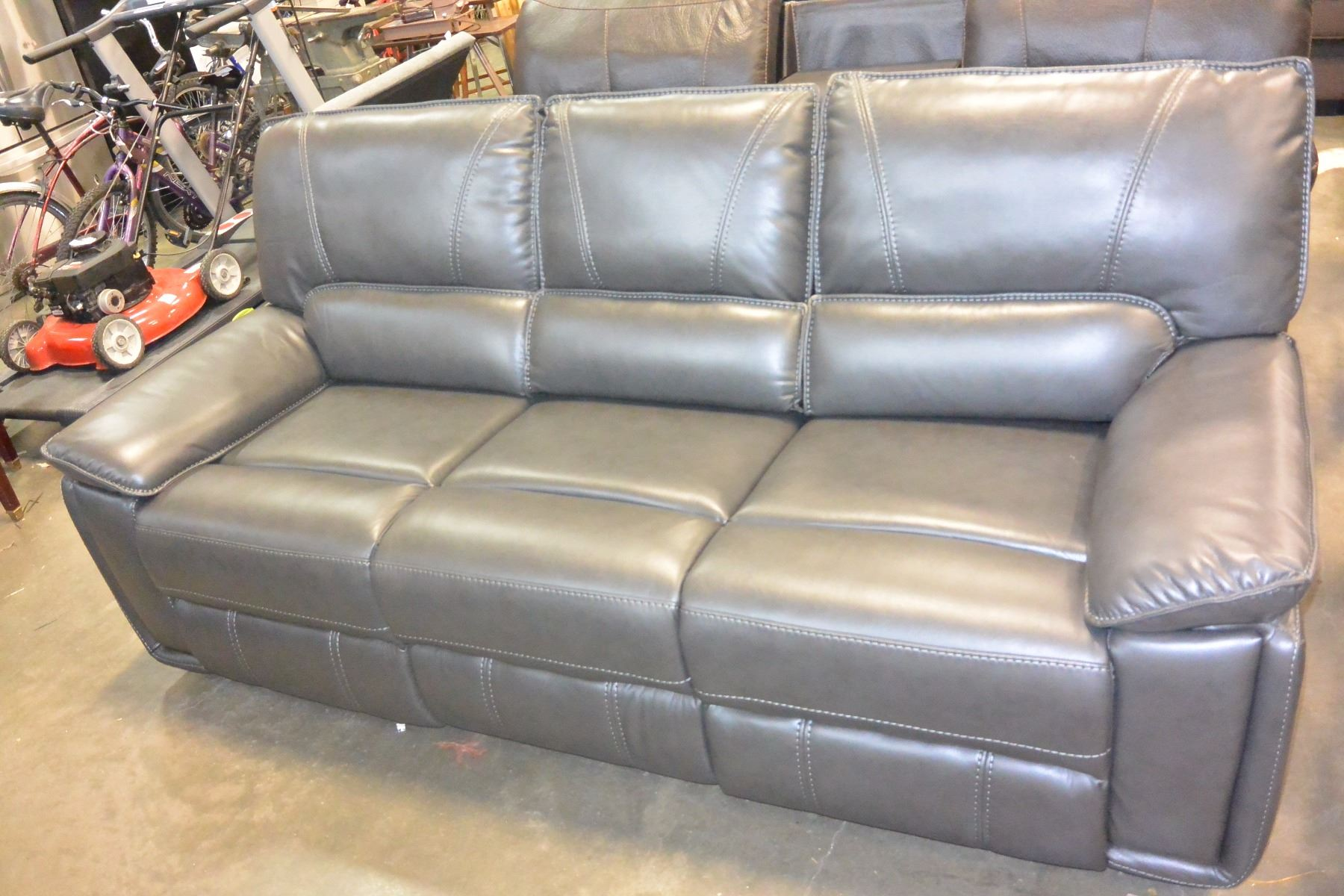 3 piece white leather sofa set black microfiber reclining and loveseat brand new grey with stitching modern