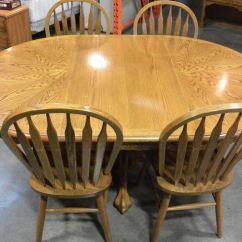 Round Oak Table And 6 Chairs Bloom High Chair Dining With Leaf 4