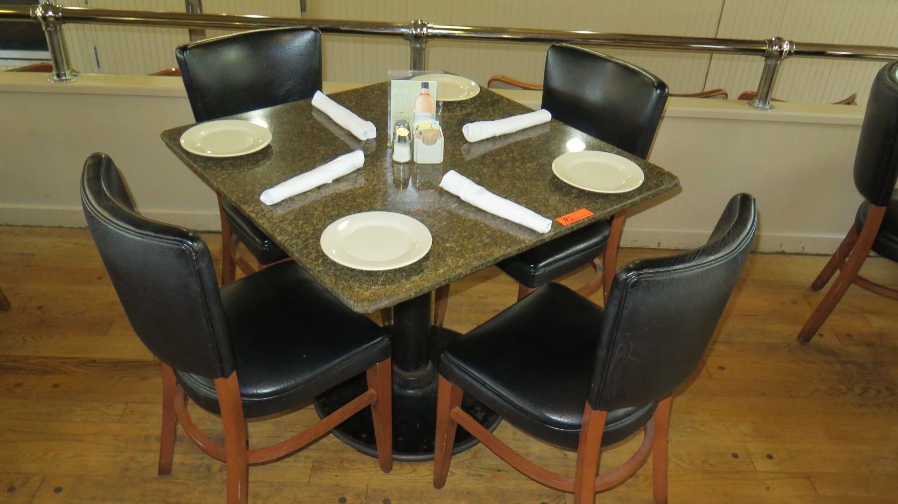 round marble table and chairs ergonomic chair for short person square granite w metal base 35 quot x 4