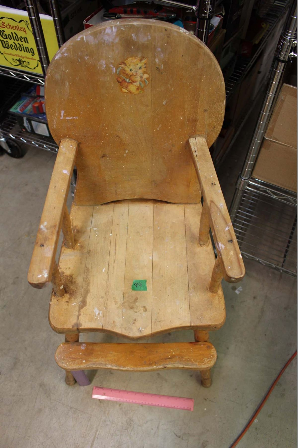 vintage wooden high chair glider replacement parts 18 x 38 image 3