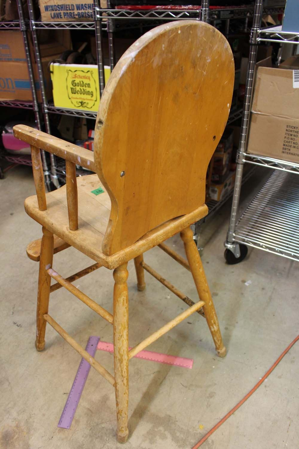 vintage wood high chair cover hire christchurch wooden 18 x 38 image 4