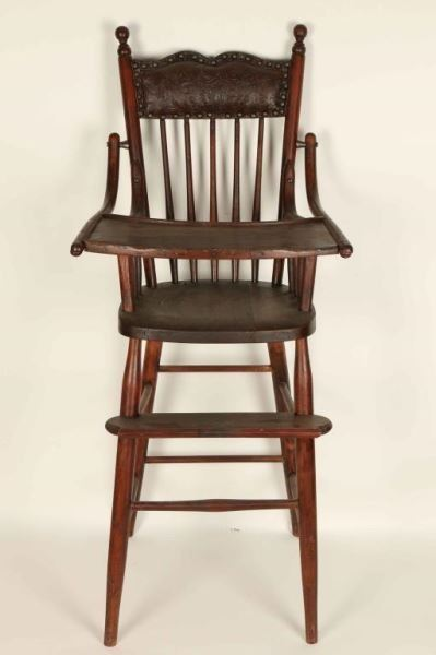 antique wooden high chair wood dining chairs image 2
