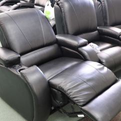Theater Chairs With Cup Holders Baby Nursery Australia Set Of Three Attached Electric Reclining Theatre Pull Image 2 Back Arm Rests