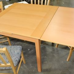 Maple Kitchen Table Tall Storage Cabinet Dining With Two Draw Leafs And Four Chairs Image 4