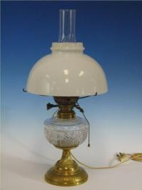 1800s Oil Lamp EAPG Double Burner, Brass Base