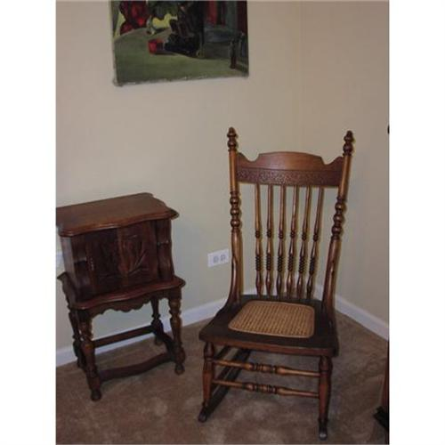 rocking chair cane used wedding covers for sale party antique oak pressback seat 834566