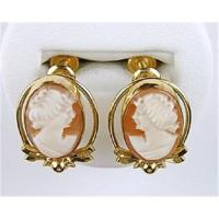 ANTIQUE GOLD CAMEO EARRINGS (61625)
