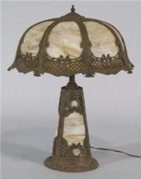SLAG GLASS TABLE LAMP with light-up base and