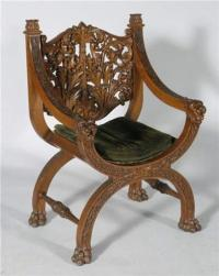 1 CARVED OAK THRONE CHAIR with lion head term