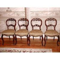 Louis XV Chairs C.1875 4 Walnut Reupholstered #1818493