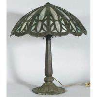 ARTS & CRAFTS TABLE LAMP with strapwork base