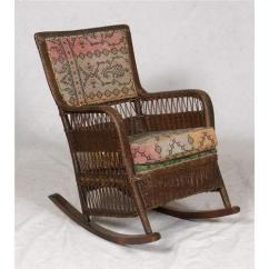 Vintage Wicker Rocking Chair Replacement Graco High Cover Antique Arts Crafts Fabric Image 1