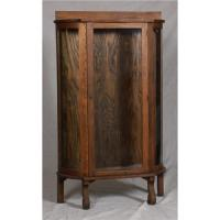 ANTIQUE OAK GLASS FRONT CABINET DISPLAY CASE